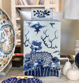 "ASIAN LOFT Tea Jar - Dragon - Blue & White - Large Lidded  - Square - 18""H x 9.5 W"