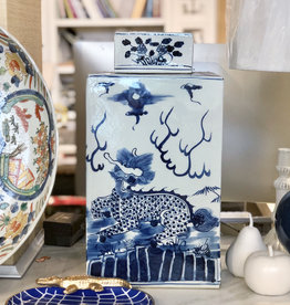 "MH Tea Jar - Dragon - Blue & White - Large Lidded  - Square - 18""H x 9.5 W"