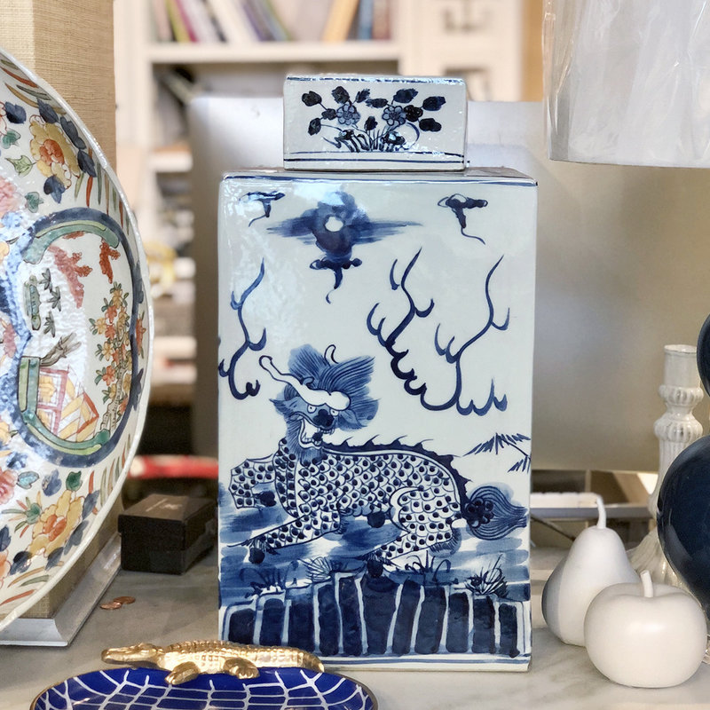 "Tea Jar - Dragon - Blue & White - Large Lidded  - Square - 18""H x 9.5 W"