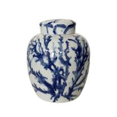 MH Ginger Jar - Covered - Coral - Blue -
