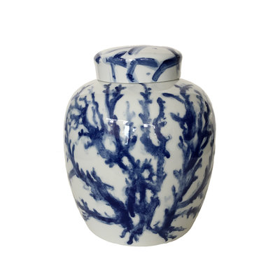 Ginger Jar - Covered - Coral - Blue -