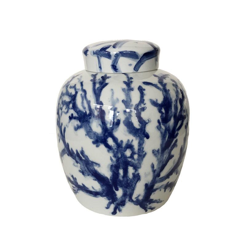 Ginger Jar - Covered - Coral - Blue -