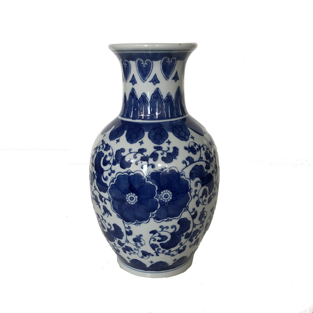 "Vase - Imperial Double Flower Vase - 12"" - Canton Blue & White Collection"
