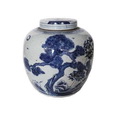 """Ginger Jar - Cherry Blossoms & Bamboo - Lidded -  Blue & White- 12"""""""