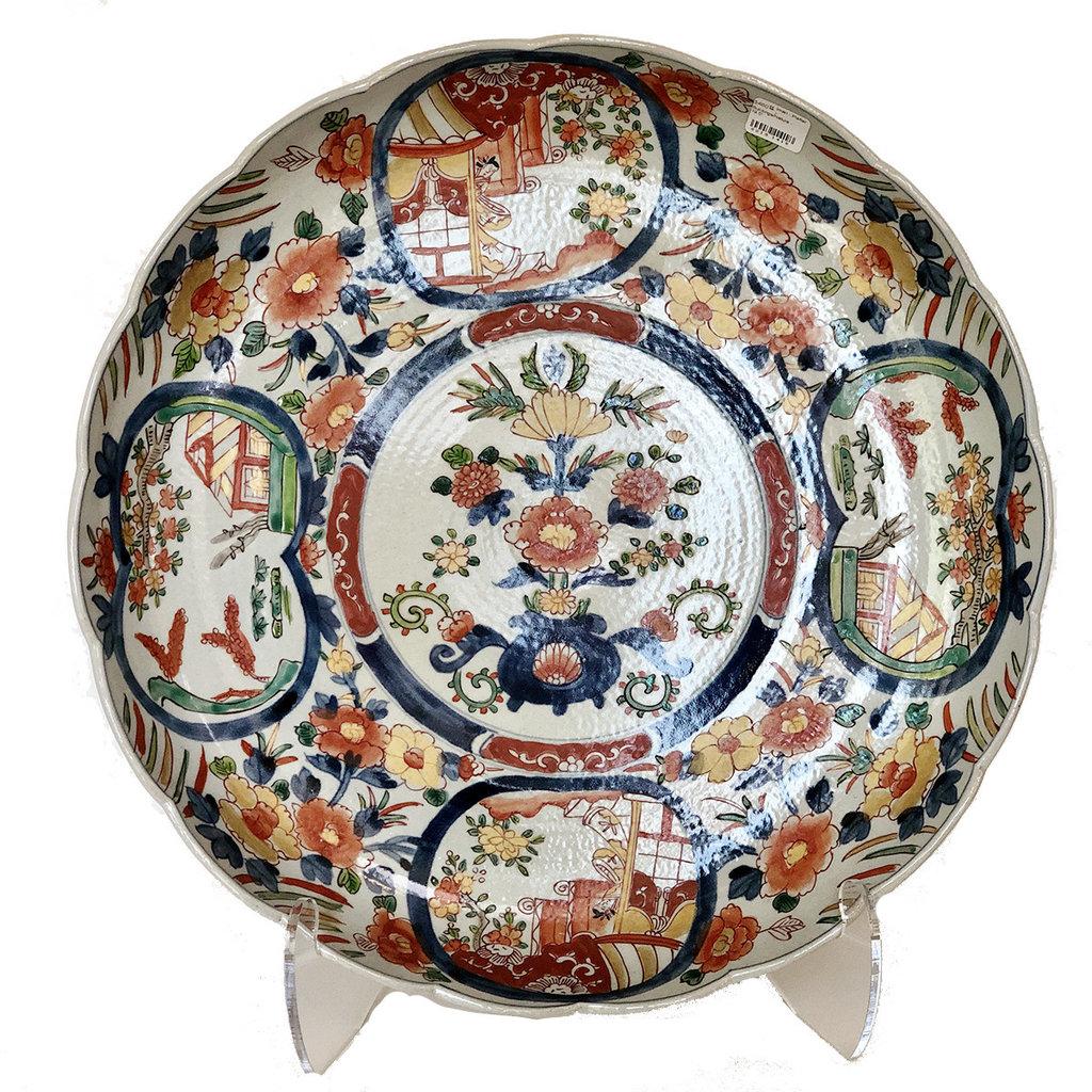 "Imari - Platter - Floral/Pagodas- 19.5"""