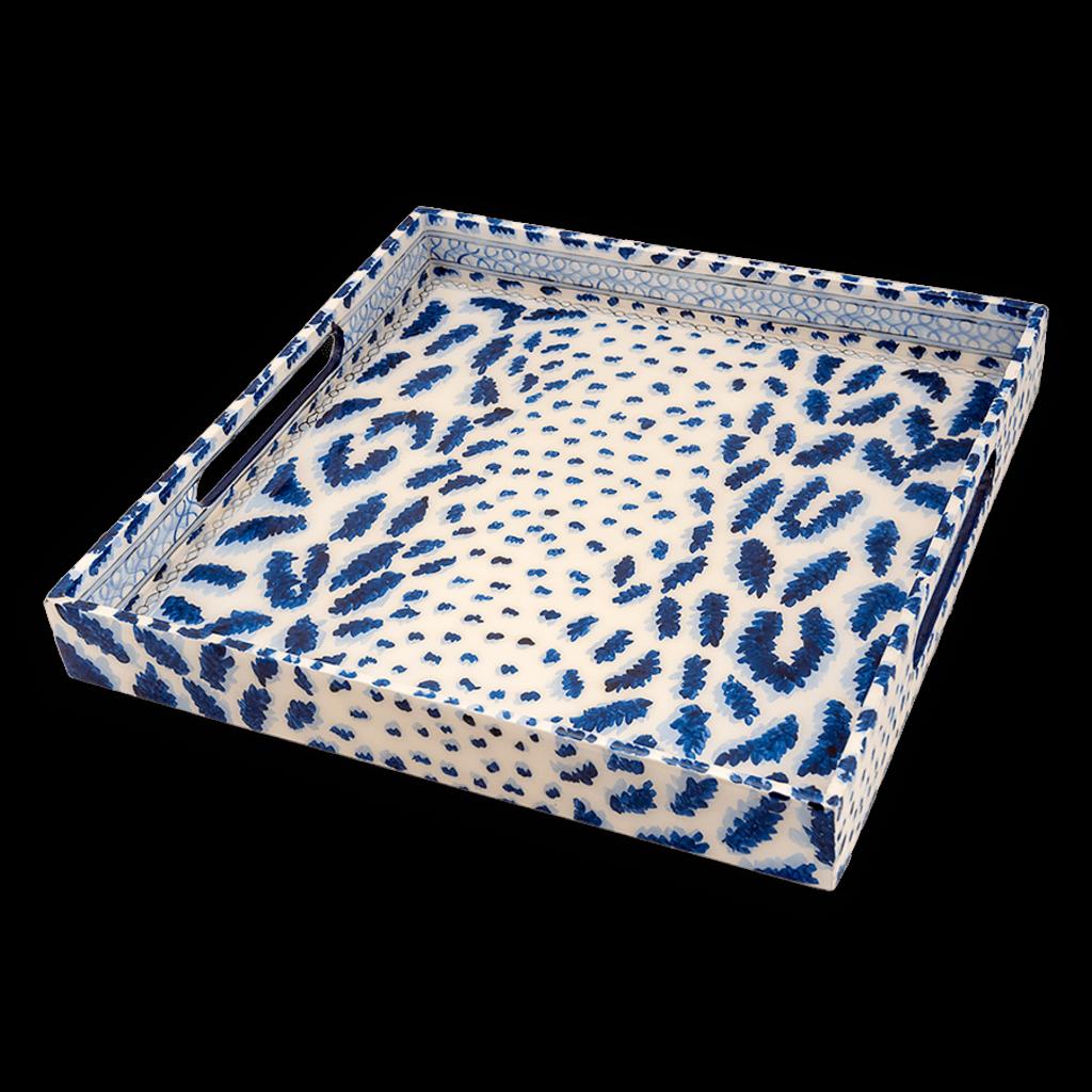 Tray - Lacquer - Cheetah - 15x15 -  Blue