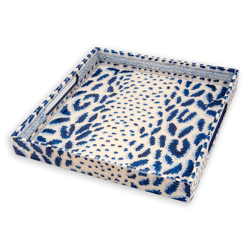 Habitat International Tray - Lacquer - Cheetah - 15x15 -  Blue