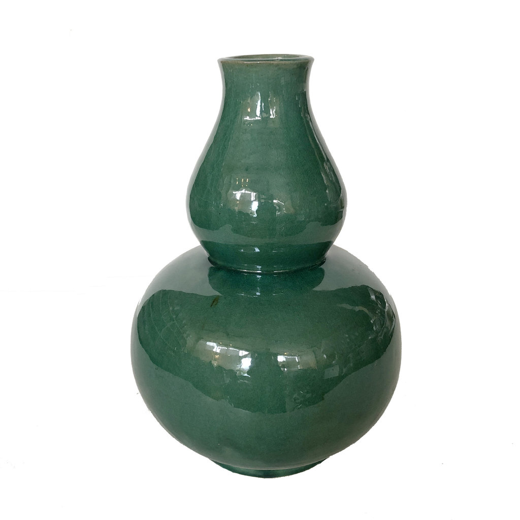 Vase - Double Gourd -  14H x 9.5W - Green