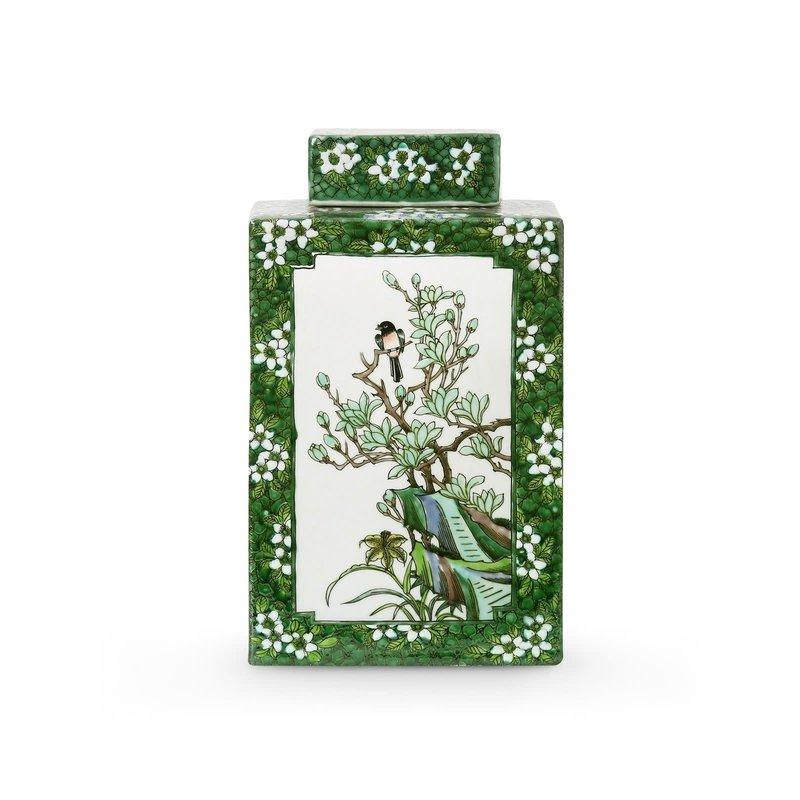 MH Jar - Square - Colefax - Green & White - 7w x 7d x 12h