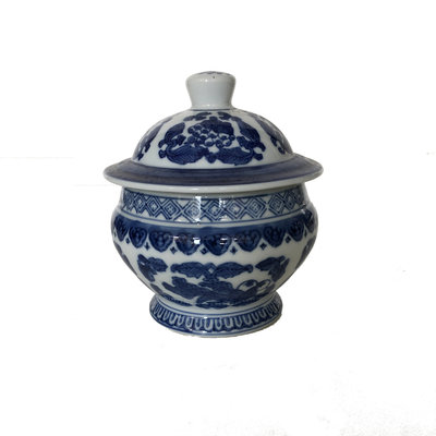 "Jar - Covered Round/Squat Jar - 6"" - Canton Blue & White Collection"