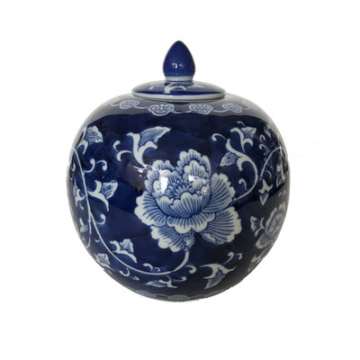 "Jar - Round Covered Jar 9"" - Dark Blue - Canton Blue & White Collection"