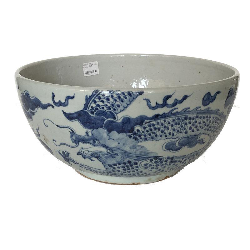 """Bowl - Dragon - Blue & White - 13.5"""""""