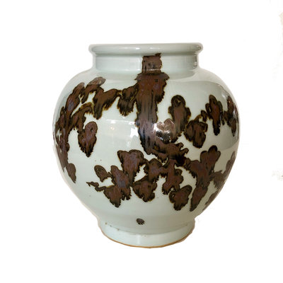 "Vase -  Cherry Blossom Branches - Brown - Squat - 11""H"