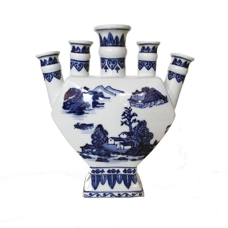 "Vase - Finger Vase - 12"" - Canton Blue & White Collection"