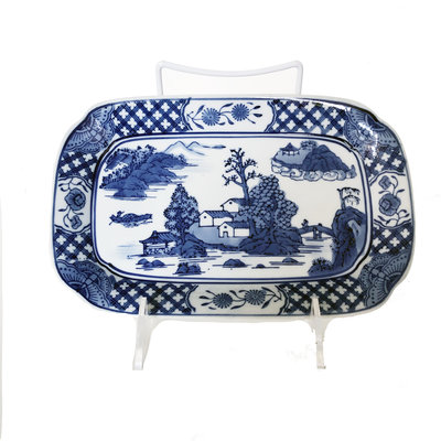 "Plate - Landscape Rectangular Plate - 11"" - Canton Blue & White Collection"