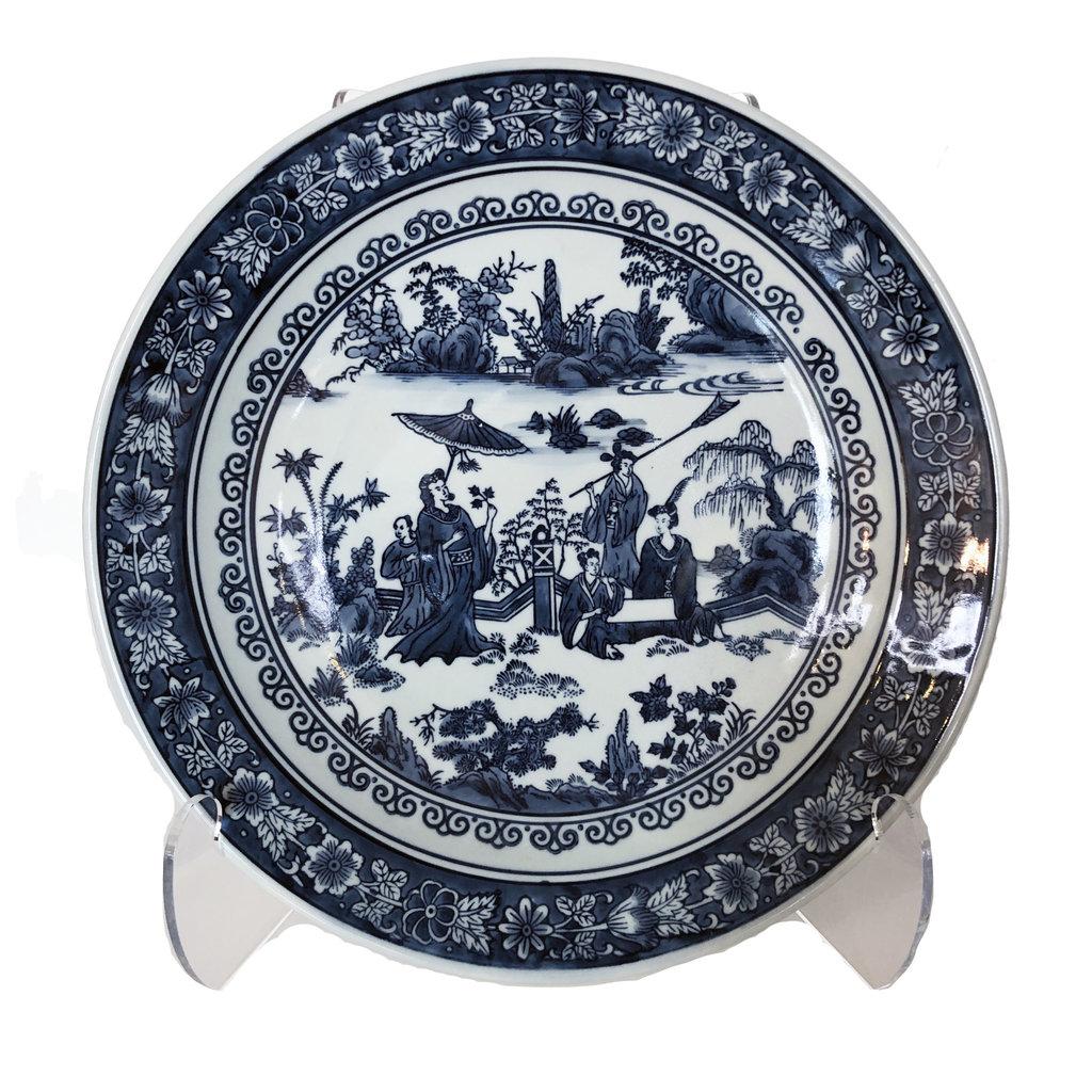 "Two's Company Platter - Blue & White - People/Landscape  - 16"" D"