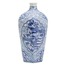 Vase - Phoenix Hexagon - Blue & White