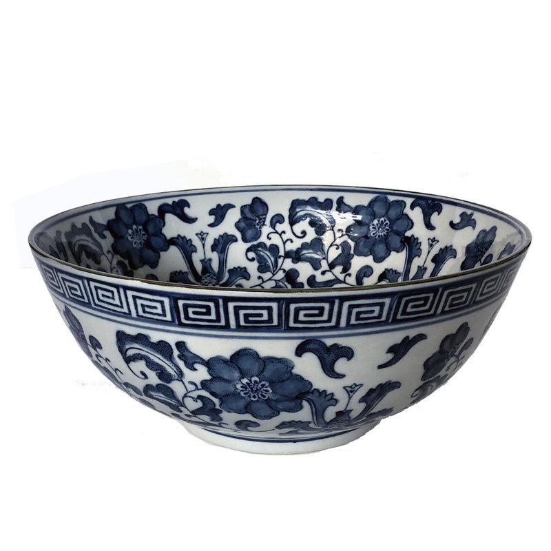 MH Bowl - Lotus Flower - Blue & White -