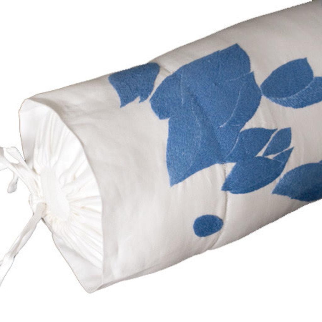 Alizee - Blue - Flange - Bedding - Voile Sham - Neckroll - Embroidered