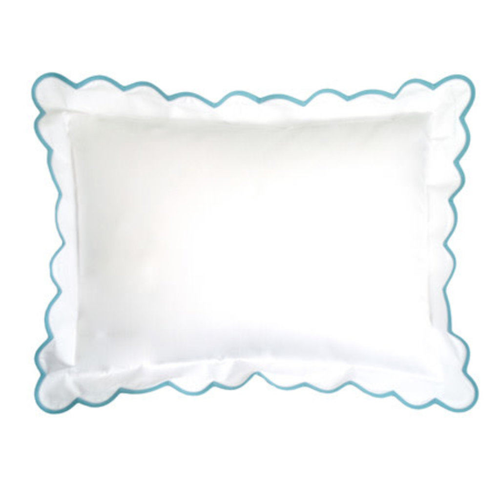 Solid White - Bedding - Percale - Scallop - Boudoir  - Multiple Colors