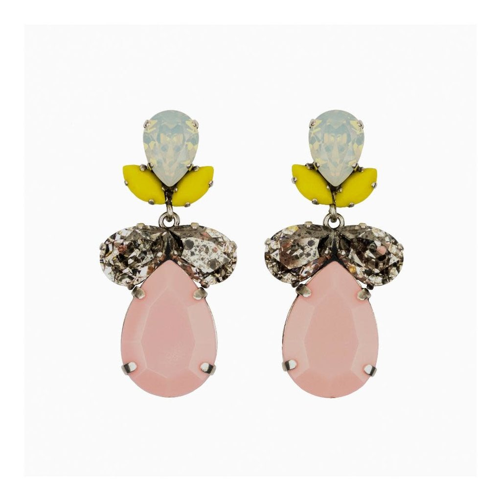 Earrings - Classic -Crystal with Pink  Resin Drop