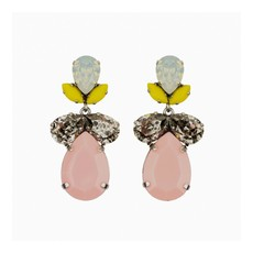 Caprice Decadent Earrings - Classic -Crystal with Pink  Resin Drop