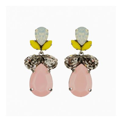 Earrings - Classic - Crystal with Pink Resin Drop