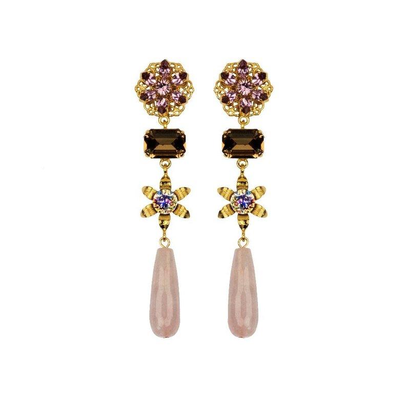 Caprice Decadent Earrings - Giselle - Rose Quartz