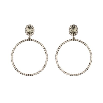Earrings - Hoops -  5 - Clear Black Diamond