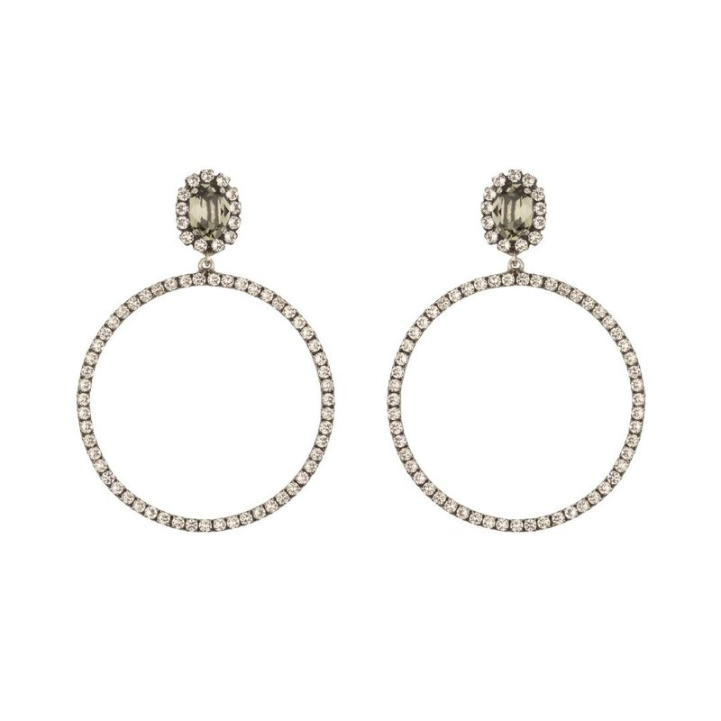 MH Earrings - Hoops -  5 - Clear Black Diamond