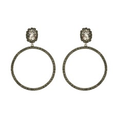 Earrings - Hoops -  Silver Shade/Black Diamond