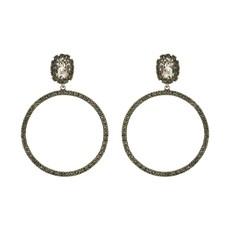 MH Earrings - Hoops -  Silver Shade/Black Diamond