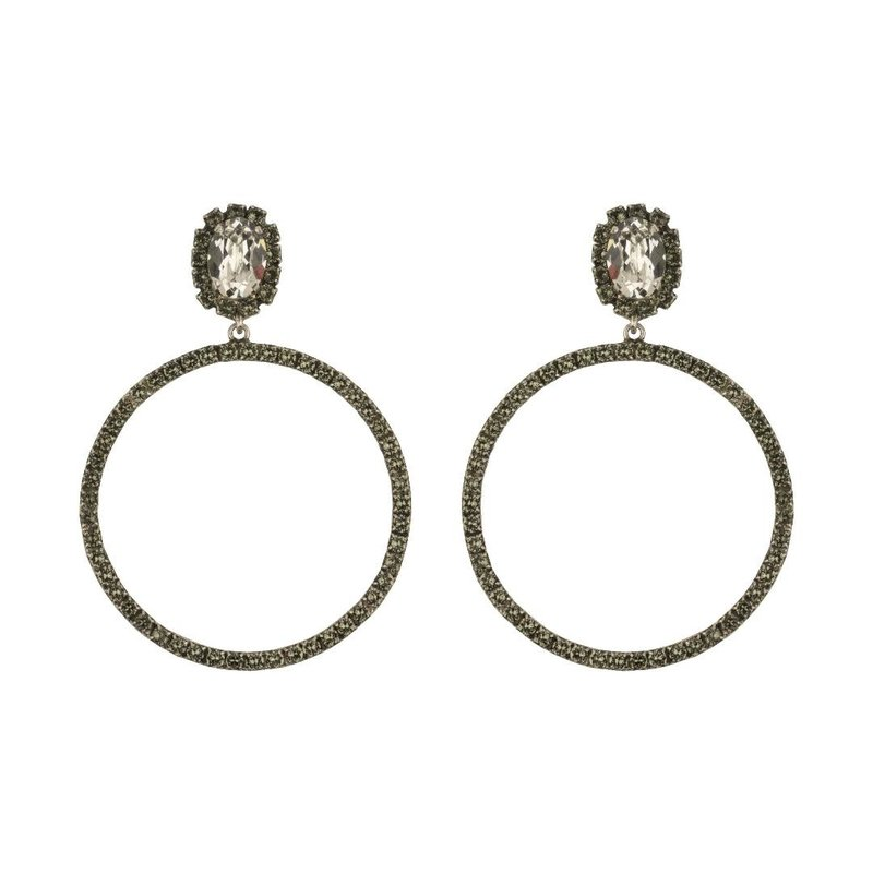 Caprice Decadent Earrings - Hoops -  Silver Shade/Black Diamond