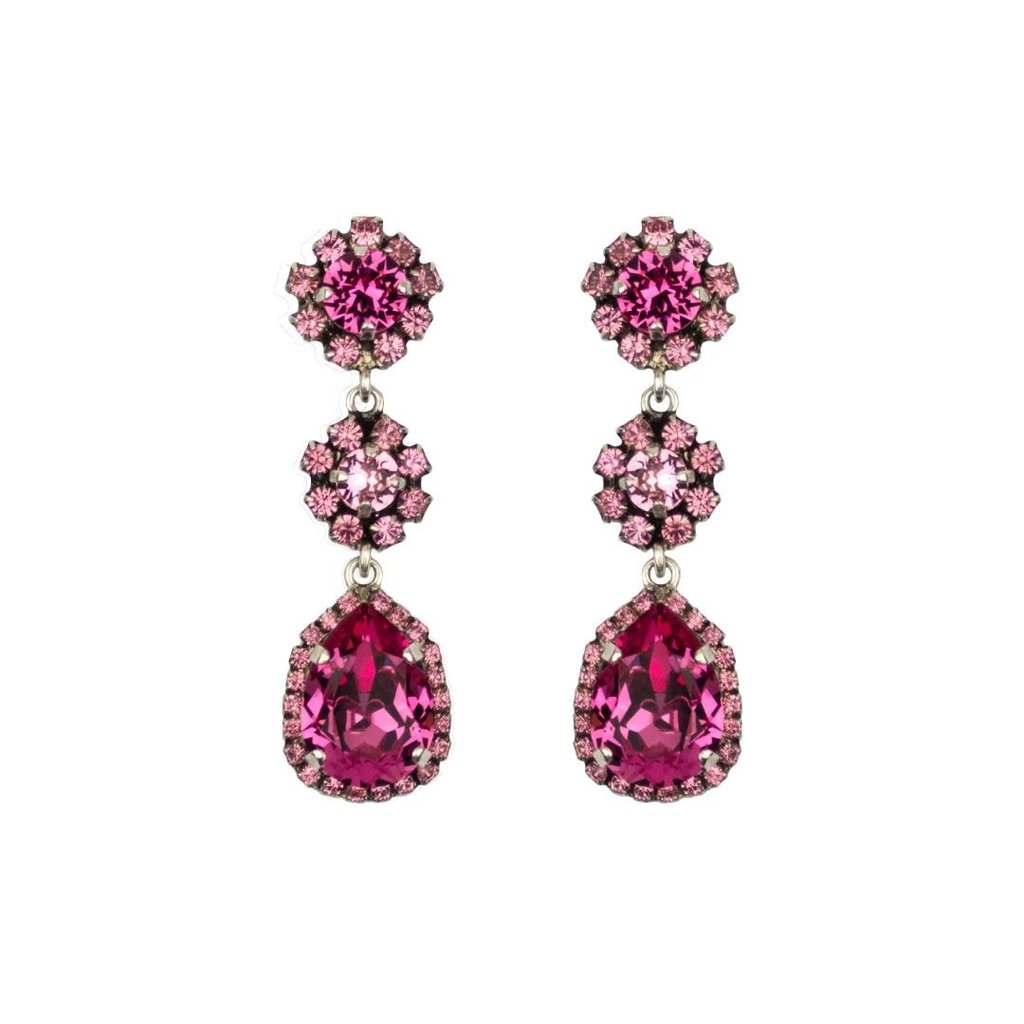 Earrings - Caprice Trinity -  8 - Indian Pink