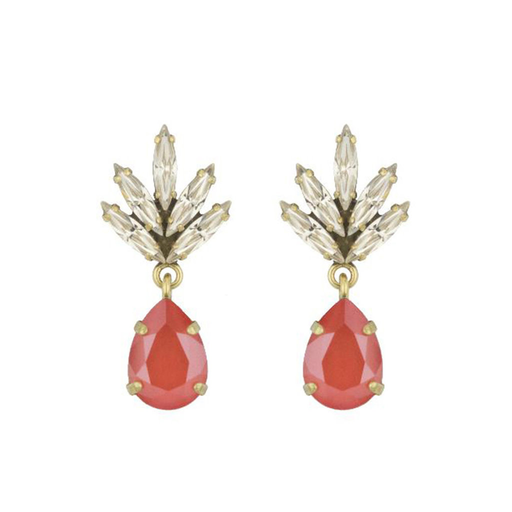 Earrings - Tiny Athena -  Coral