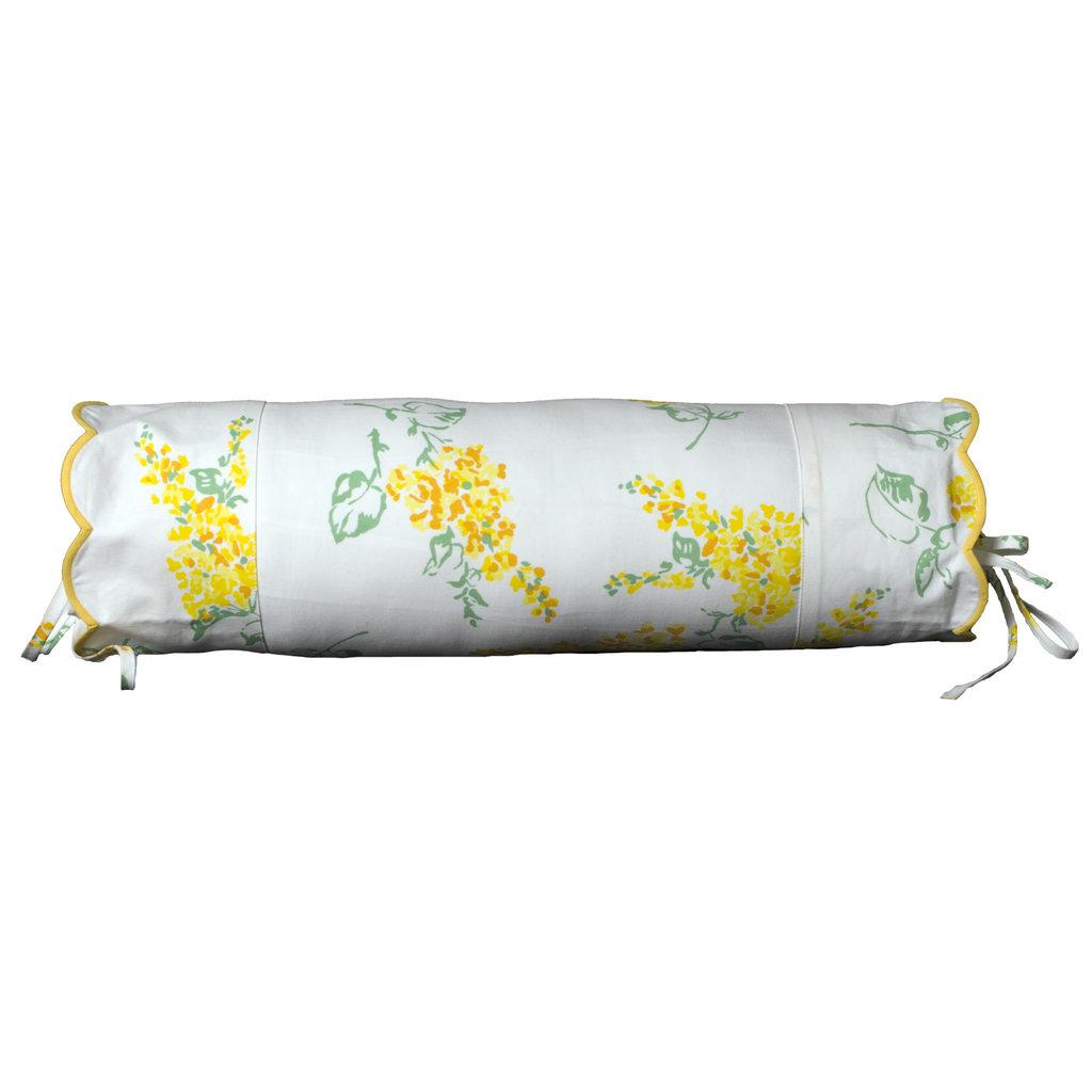 Lilas - Neckroll Sham - Yellow - Scallop - Percale