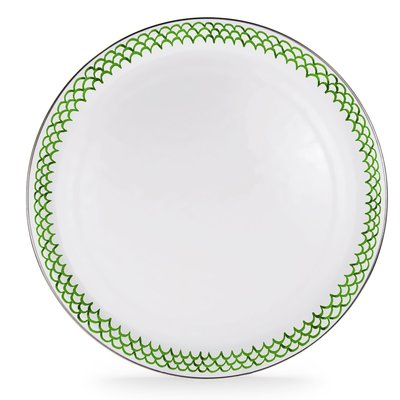 Green Scallop -  Large Tray - Round Enamel