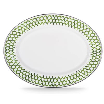 Green Scallop -  Oval Platter Enamel