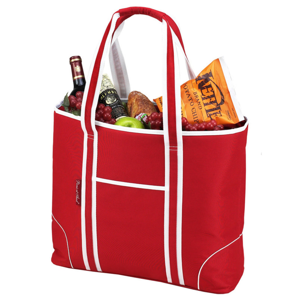 Picnic at Ascot Cooler Tote - Extra Large - Red w/White Trim