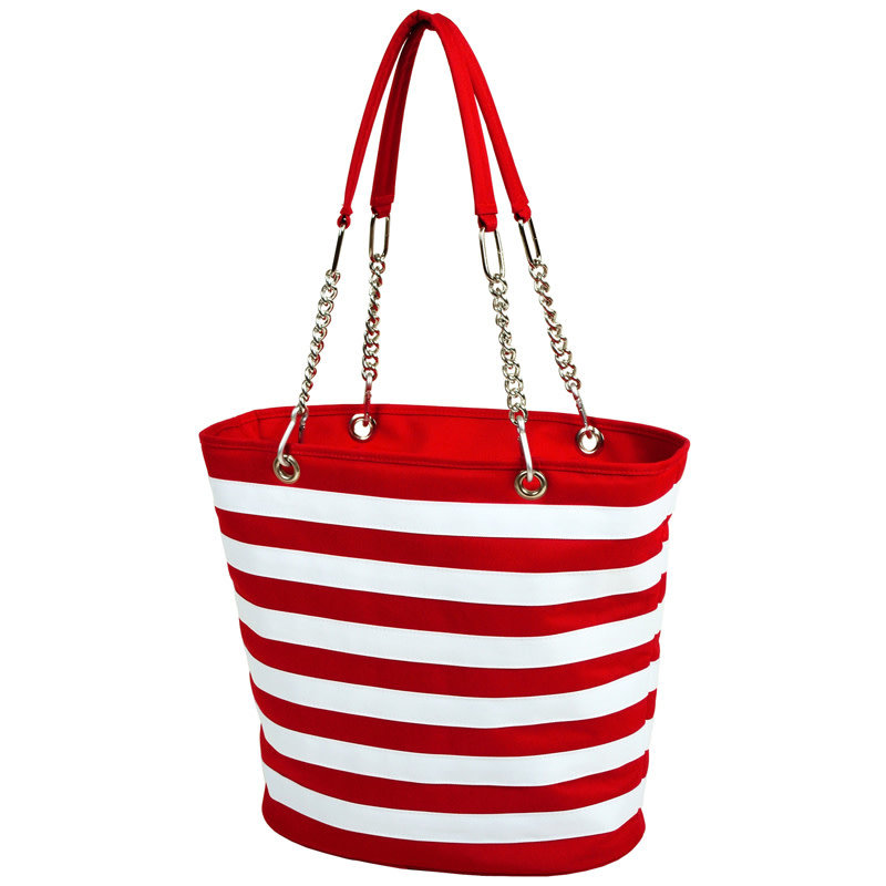 Picnic at Ascot Cooler Tote - Fashion Tote Insulated - Red Stripe