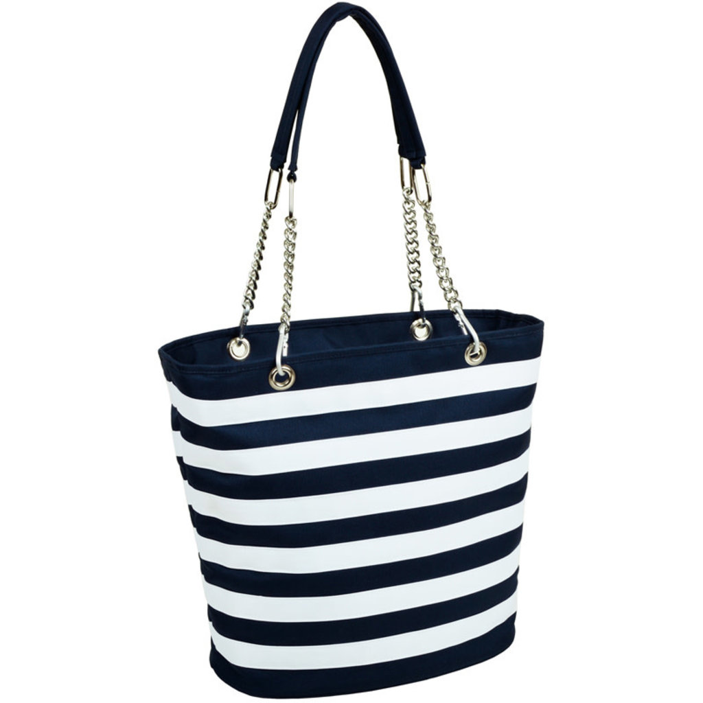 Picnic at Ascot Cooler Tote - Fashion Tote Insulated - Blue Stripe
