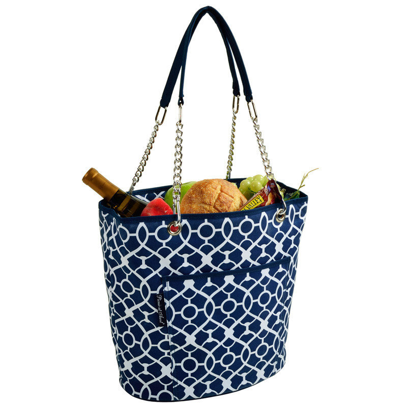 Picnic at Ascot Cooler Tote - Fashion Tote Insulated - Blue Trellis