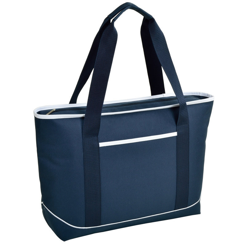 Picnic at Ascot Cooler Tote - Large Insulated Cooler - Navy w/White Trim