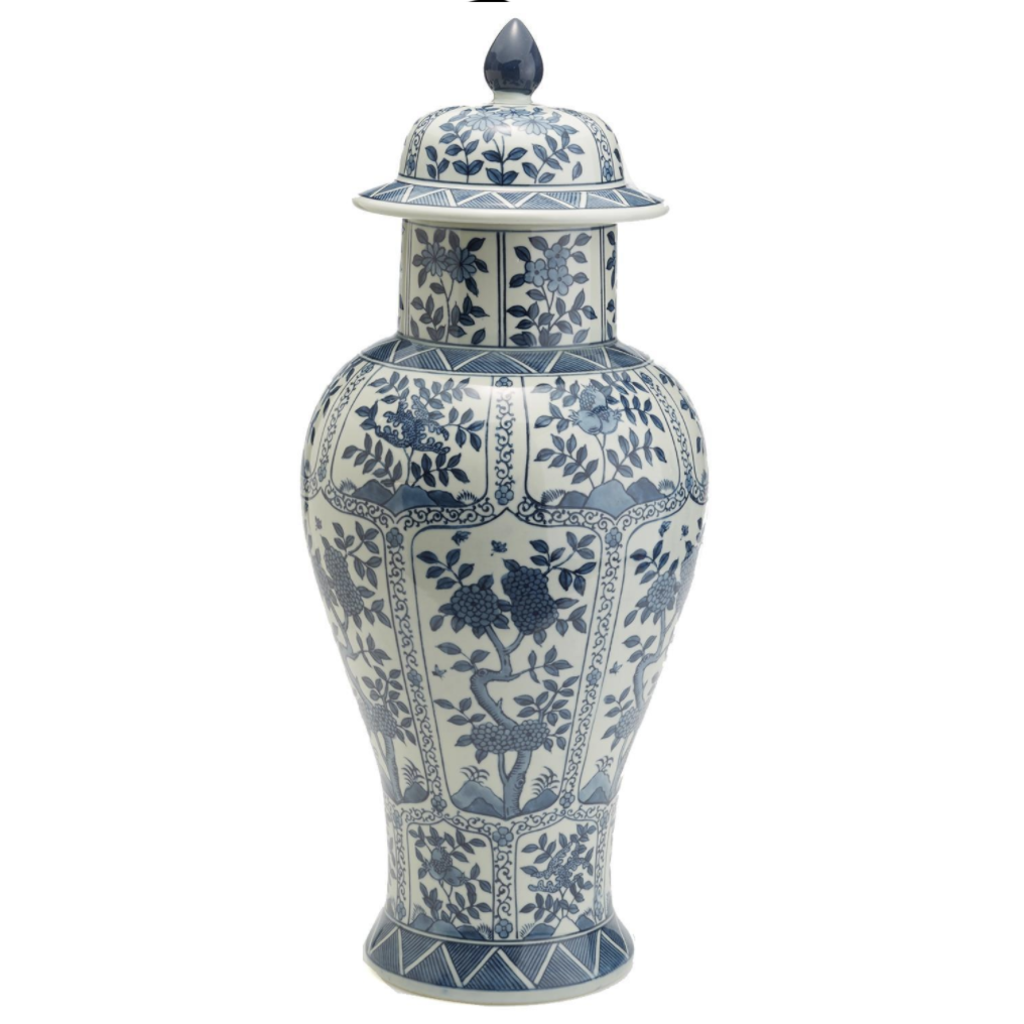 MH Jar - Blue & White Chrysanthemum - Covered - 22H x 10W