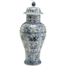 Two's Company Jar - Blue & White Chrysanthemum - Covered - 22H x 10W