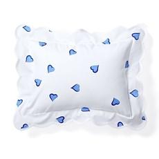 D. Porthault Coeurs - Blue - White Scallop - Bedding - Boudoir
