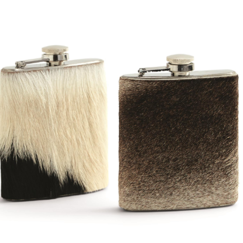 Two's Company Flask - Cow Hide / Goat Hide - 7 Oz. -