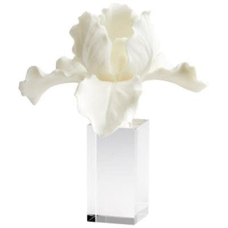"""Sculpture - Orchid - White on Acrylic Base - 10.75H"""""""