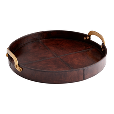 """Tray - Bryant - Round - Leather - Brown - Small - 17""""D"""