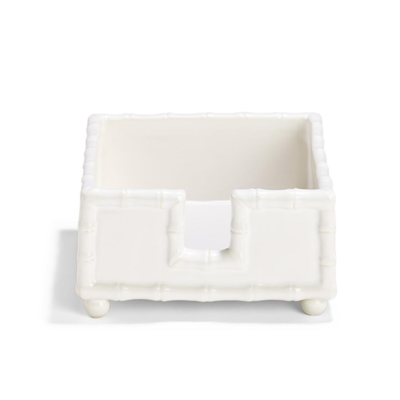 Napkin Holder - Cocktail - Faux Bamboo - White